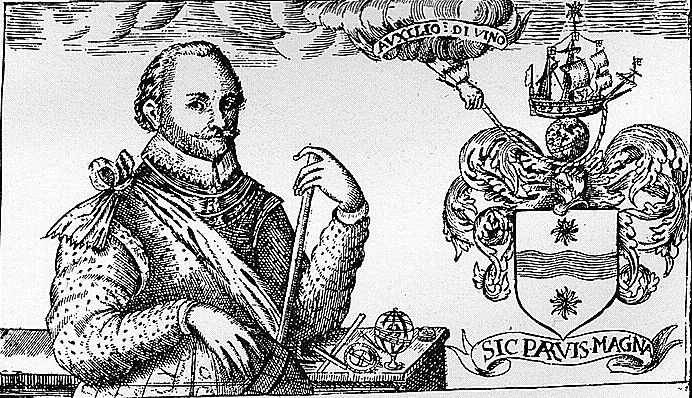 Sir Francis Drake with his new heraldic achievement, with motto: Sic Parvis Magna, translated literally: 'Thus great things from small things (come)'