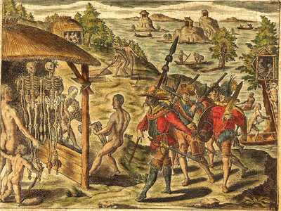 The engraving by Theodore de Bryon shows Raleigh's meeting with one of the tribes on the Orinoco River in 1595