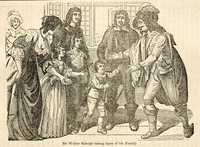 Sir Walter Raleigh taking a leave from his family