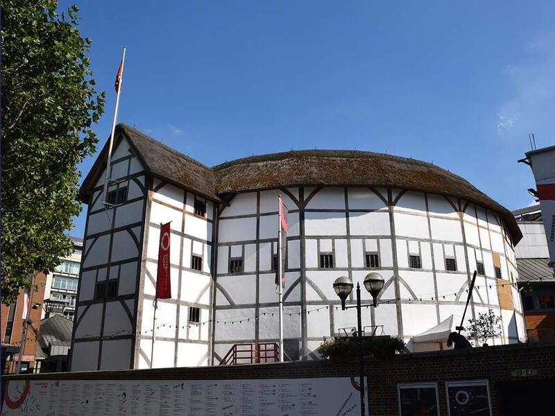 Shakespeare's Globe Theatre, reconstructed using traditional materials near the site of the original theatre.