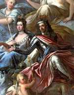 William and Mary, as depicted in a mural at the Royal Naval College in Greenwich, London