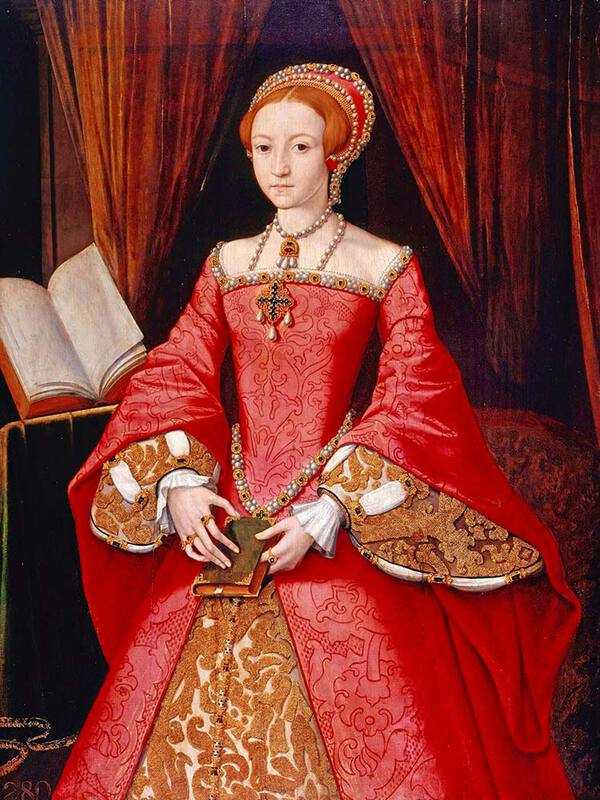 A portrait of Princess Elizabeth aged 13. Elizabeth commissioned this painting as a present for her father, Henry VIII.