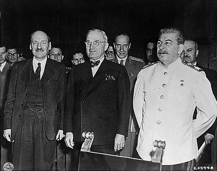 Attlee with Harry S. Truman and Joseph Stalin at the Potsdam Conference, 1945