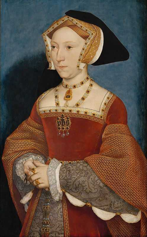 Jane Seymour became Henry's third wife, painted c. 1545, by an unknown artist. At the time that this was painted, Henry was married to his sixth wife, Catherine Parr.