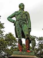 A bronze statue of Wellington by Carlo Marochetti in Woodhouse Moor, Leeds