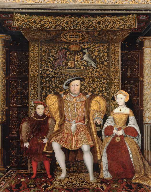 Jane Seymour became Henry's third wife, pictured at right with Henry and the young Prince Edward, c. 1545, by an unknown artist.