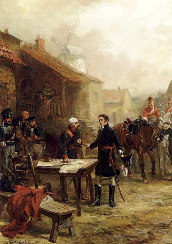 Wellington and Blucher meeting before the Battle of Waterloo painted by Robert Alexander Hillingford