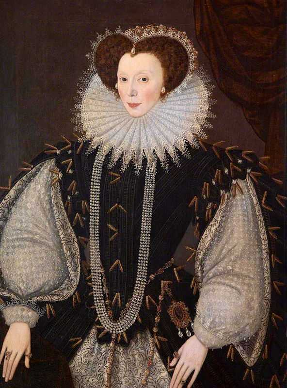 Elizabeth Sydenham, Lady Drake ca. 1585 painted by George Gower