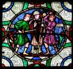 Stained glass in Canterbury Cathedral depicting the murder of Thomas Becket