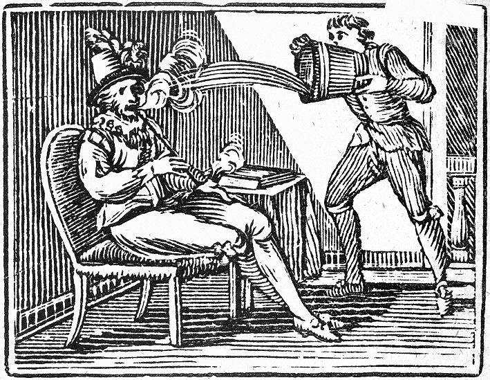 Sir Walter Raleigh smoking a pipe and being doused by a servant who thinks he's on fire. Wood-engraving