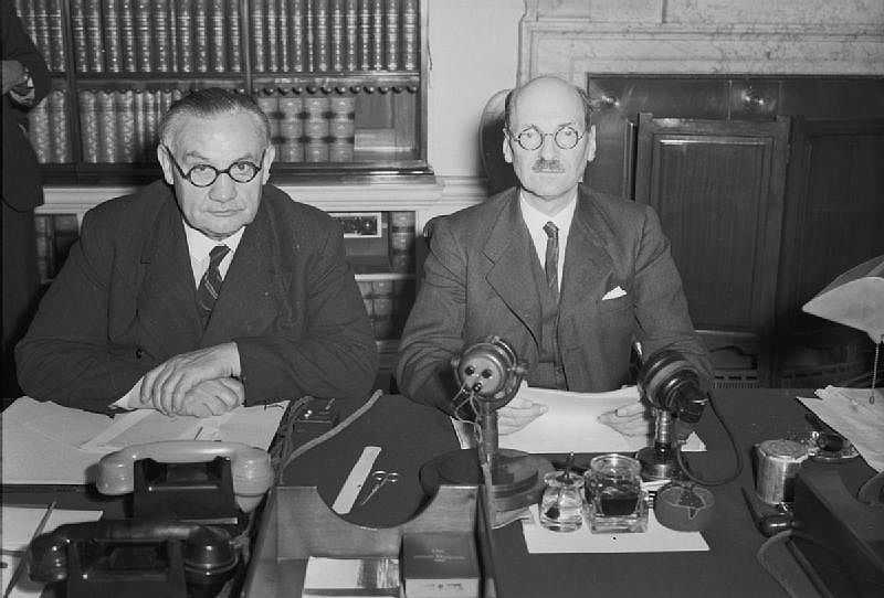 Foreign Secretary Ernest Bevin (left) with Attlee in 1945