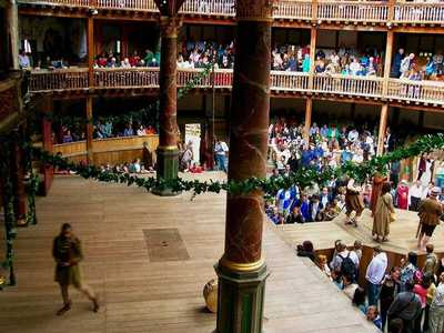 The reconstructed Globe Theatre on the south bank of the Thames in London