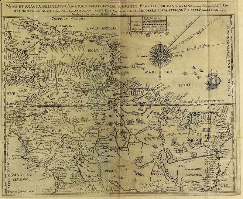 Inset Map in Hulsius edition of Raleigh's Guiana (1599)