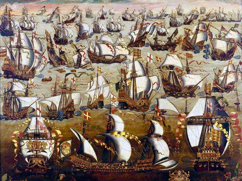 Ships setting sail as part of the 1588 Spanish Armada.