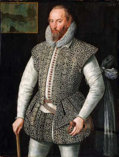 A portrait of Sir Walter Raleigh in 1598