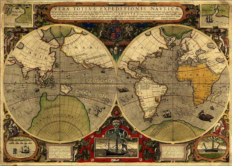 Records the first English circumnavigation of the globe by Sir Francis Drake (1577-1580), as well as that of his countryman Thomas Cavendish a few years later (1586-1588)