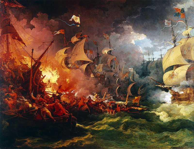 Defeat of the Spanish Armada, 8 August 1588, Oil on canvas by Philip James de Loutherbourg