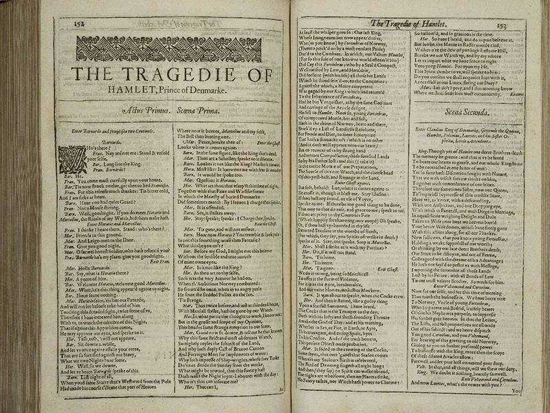 Hamlet in Shakespeare's First Folio, the earliest collection of his works published in 1623.