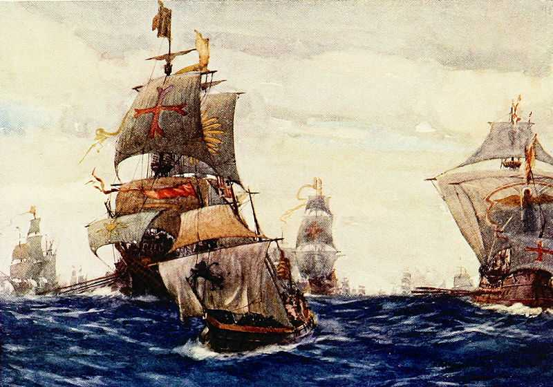 A painting of the The Royal Navy fleet