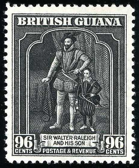 96 cents British Guiana issue 1934, black, Sir Walter Raleigh. SG N°299.