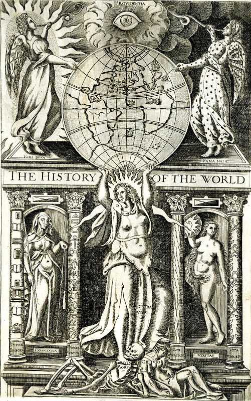 Title page illustration, 'The History of the World', by Walter Ralegh (Sir Walter Raleigh)