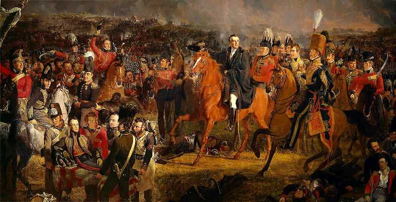 Wellington at the battle of Waterloo. Detail of a painting by Jan Willem Pieneman