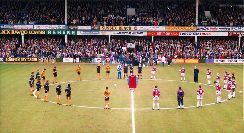 The players of West Ham and Wolves, line up for a minute's silence for Bobby Moore, before their game on 6 March 1993