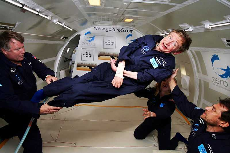 Hawking taking a zero-gravity flight in a reduced-gravity aircraft, April 2007