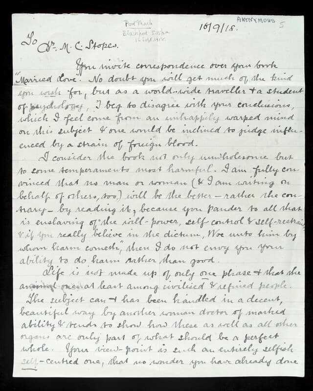 Letter to Stopes, 'Hail Marie, saviour of the human race' from 'just a woman, who reads, thinks and appreciates' (© wellcomeimages, CC BY 4.0)