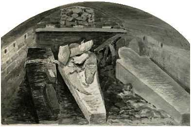 Coffins of King Henry VIII (centre, damaged), Queen Jane (right), King Charles I with a child of Queen Anne (left), vault under the choir, St George's Chapel, Windsor Castle, marked by a stone slab in the floor. 1888 sketch by Alfred Young Nutt.