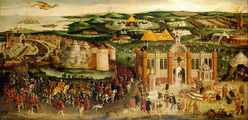 The meeting of Francis I and Henry VIII at the Field of the Cloth of Gold in 1520
