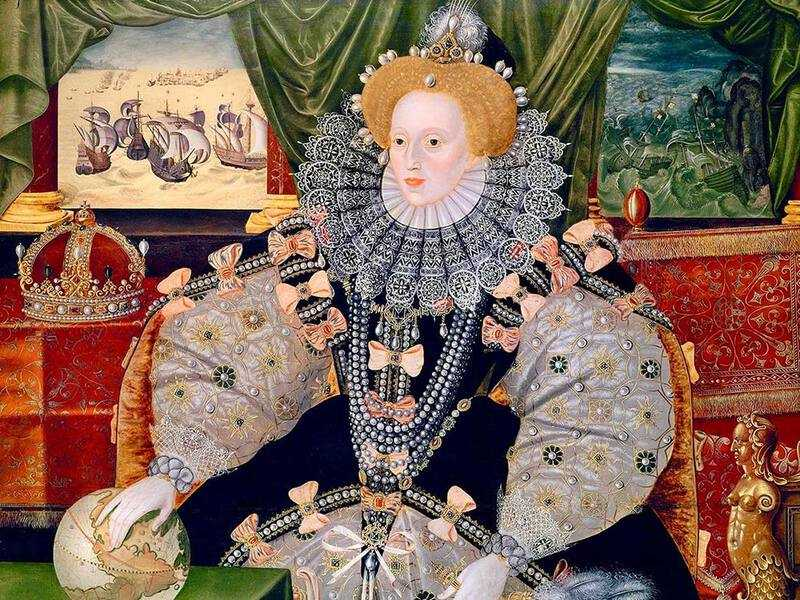 Elizabeth gave a stirring speech at Tilbury docks on the eve of the Spanish armada. The Armada Portrait was produced at about this time.