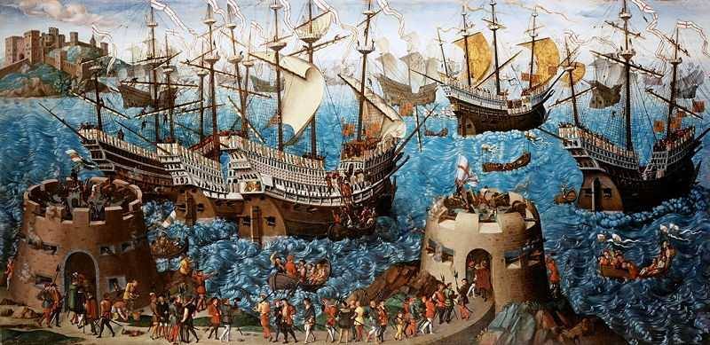 Depiction of Henry embarking at Dover, c. 1520 (Painting is in the Royal Collection)