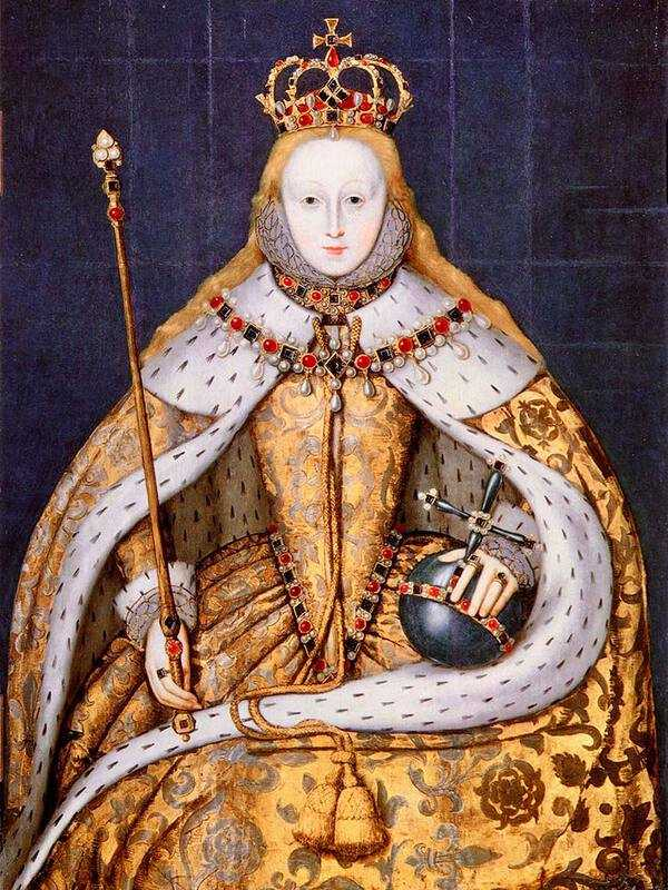 Elizabeth I was crowned in January 1559. This is a portrait of her in her coronation robes.
