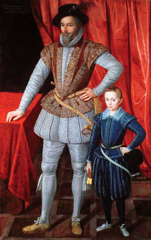 Sir Walter Raleigh in Pofbroek with his son