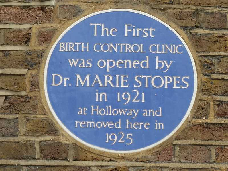 Plague of the first birth control clinic opened by Dr. Marie Stopes in 1921