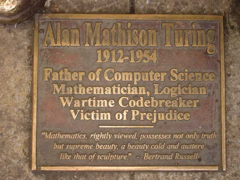Turing memorial statue plaque in Sackville Park, Manchester (© Lmno, CC BY-SA 3.0)