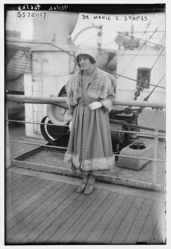 A negative of Dr. Marie C Stopes seen on a boat