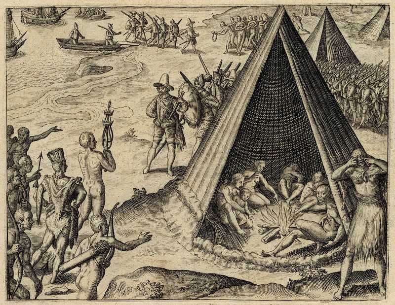 Drake's landing in California, engraving published 1590 by Theodor de Bry