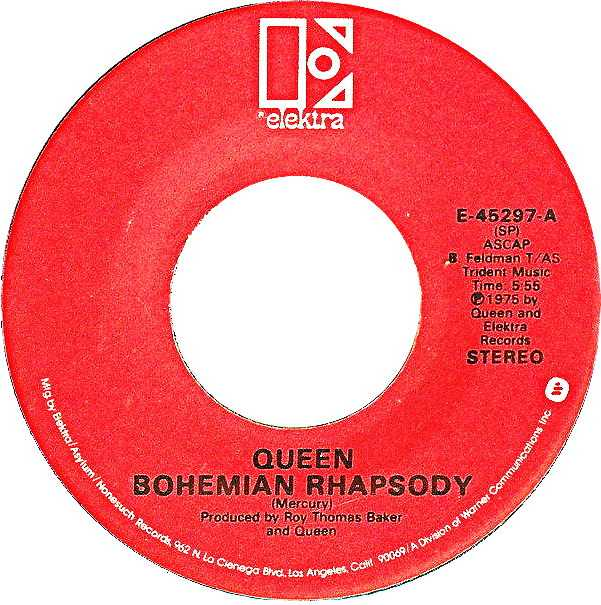 The Bohemian Rhapsody by Queen US vinyl red label