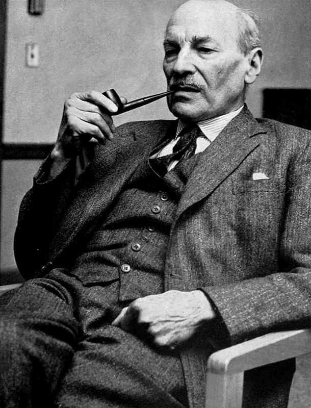 A photograph of former British Prime Minister Clement Attlee during a visit to Hill Auditorium at University of Michigan